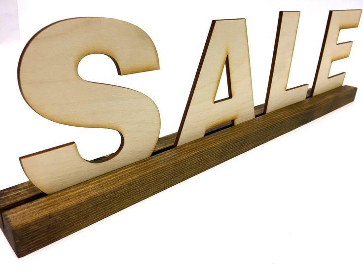 Retail Sign Holder + SALE SIGN + Thin 1.5 Holder + Wood Letter Sign Holder + 3D Letters + 3D Sign + Visual Merchandiser Sign + Wood Sign by G360design on Etsy