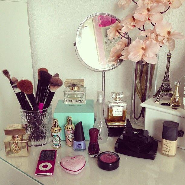 my vanity #spring #vanity #beauty #makeup #benefit #tiffanyandco #chanel #paris #parfum #jlo #essence #manhattancosmetic #victoriassecret #ipod #pink #gucci #home #myroom #instadaily #instamood