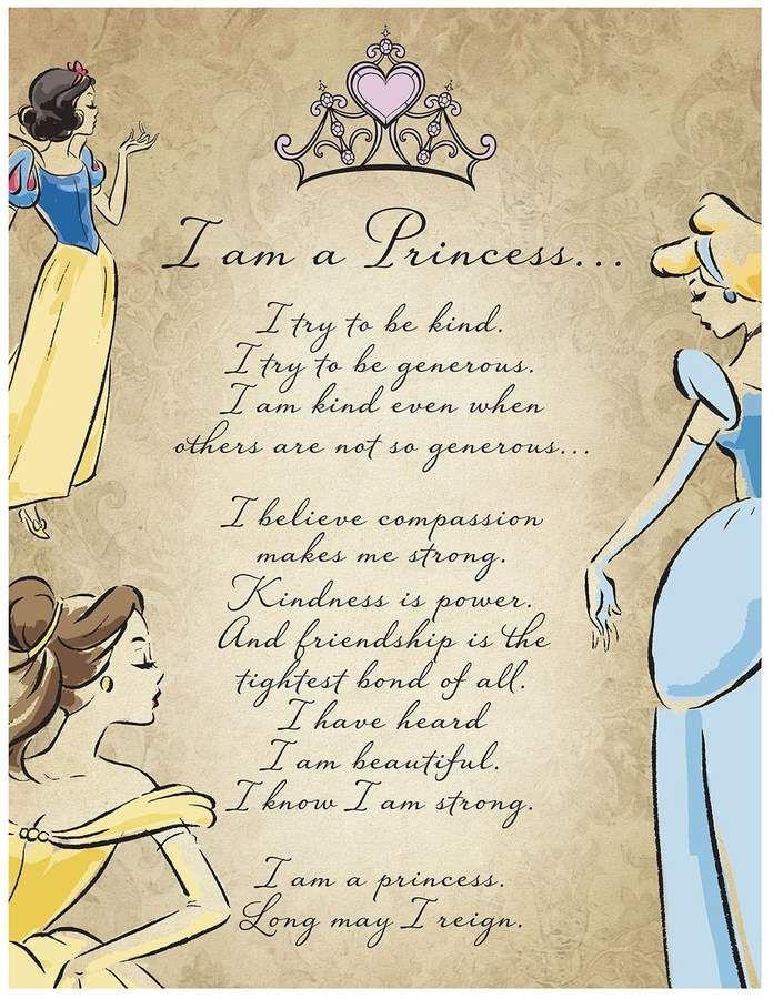 Disney Princess I Am A Princess Glitter Canvas Wall Art Disney