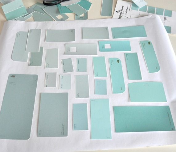 When choosing paint colors, cut the swatches apart and only look at the colors you really like on a white piece of paper.  I would keep a second swatch of the colors intact as the gradient helps you to see what the base color is.
