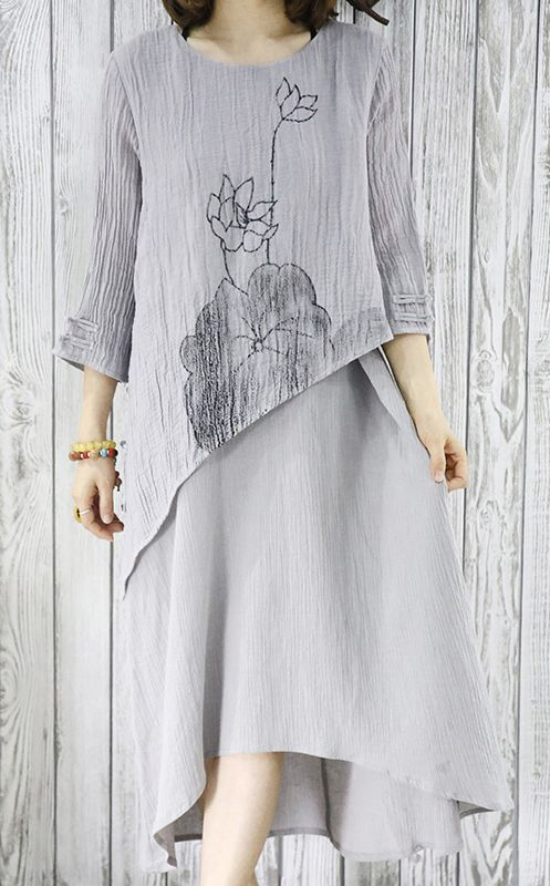 Gray layered linen sundress plus size maxi summer dresses half sleeve linen www.omychic.com