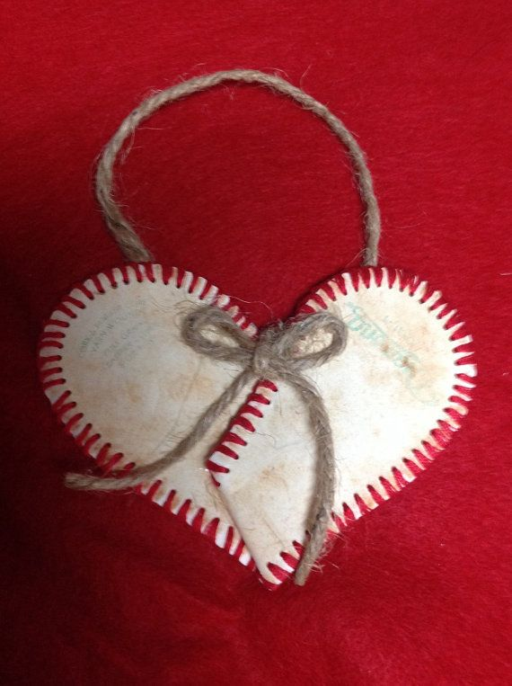 This adorable heart ornament is made from an authentic leather baseball skin. Its not just for your Christmas tree, hang it anywhere in your home