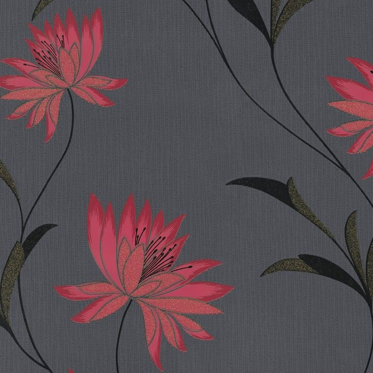 vibrant design modern floral wallpaper. Zoe is a modern contemporary floral trail design set on Black textured  vinyl surface in variety of bold and vibrant colours Seen here Red 16 best Living Room Wallpaper images Pinterest room