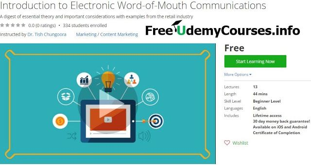 [Udemy #BlackFriday] Introduction to Electronic Word-of-Mouth #Communications   About This Course  Published 11/2016English  Course Description  This course introduces the topic of electronic word-of-mouth communications (eWOM) which is an important conce