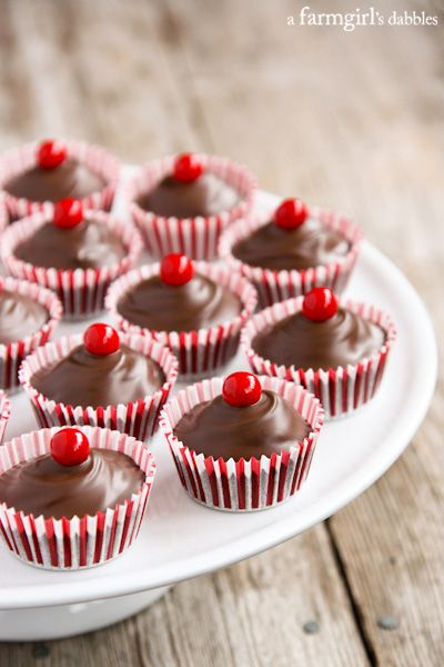 Chocolate Cherry Candy Cups - afarmgirlsdabbles.com #valentinesday #chocolate #cherry