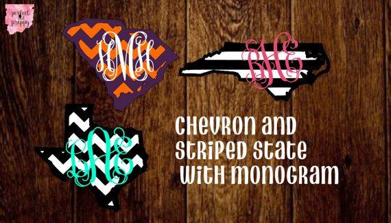 Three layer chevron monogram, state monogram, stripe state monogram, any state monogram, school pride state monogram, stripe texture monogram