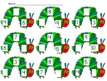 The Very Hungry Caterpillar Missing #, Biggest #, # Recognition (Mclass Math practice)