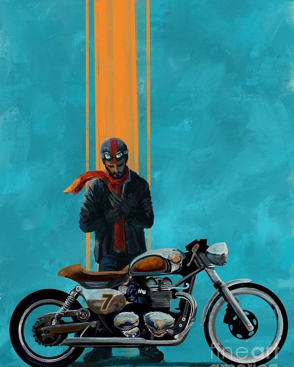 Vintage Cafe Racer Poster By Sassan Filsoof Motorcycle Art Painting Motorcycle Artwork Motorbike Art