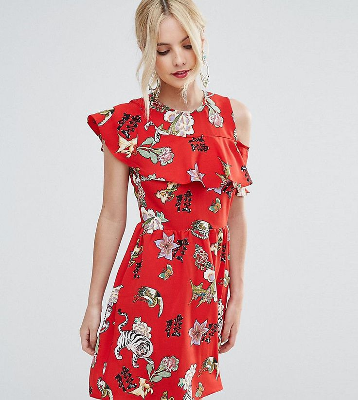 ASOS PETITE Ruffle Tea Dress with Open Back in Badge Print - Red
