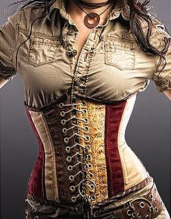 Steampunk- love the fabric and lacing. Curvaceous and modest at the same time.