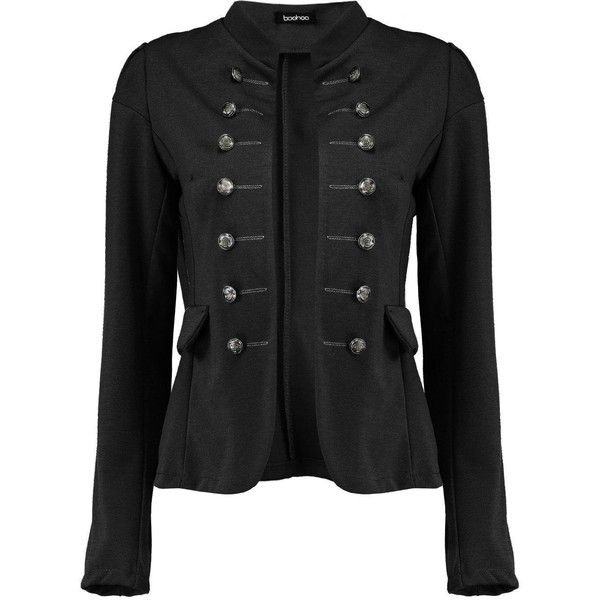Boohoo Womens Molly Military Blazer ❤ liked on Polyvore featuring outerwear, jackets, blazers, military blazer jacket, blazer jacket, military style blazer, military inspired jacket and military blazer