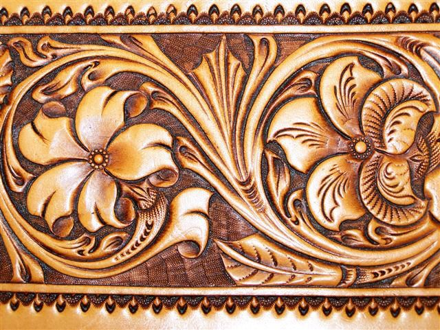 embossing patterns | Bob uses attractive surroundings to frame his carving. This carving is ...