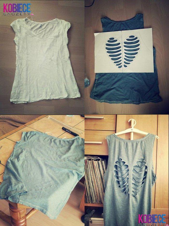 Camisa remodelada usando tecido folorido nas costas - Faça Você Mesmo