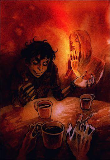 """""""— Эй, Фазан! — окликнули меня из-за самого дальнего столика. Я развернулся. Там, над расписными кофейными чашками, сидели колясники четвертой. Лорд — медововолосый и сероглазый, красивый, как эльфийский король, и Шакал Табаки — мелкий, кудлатый и ушастый, похожий на лемура в парике.""""  By Meethos."""