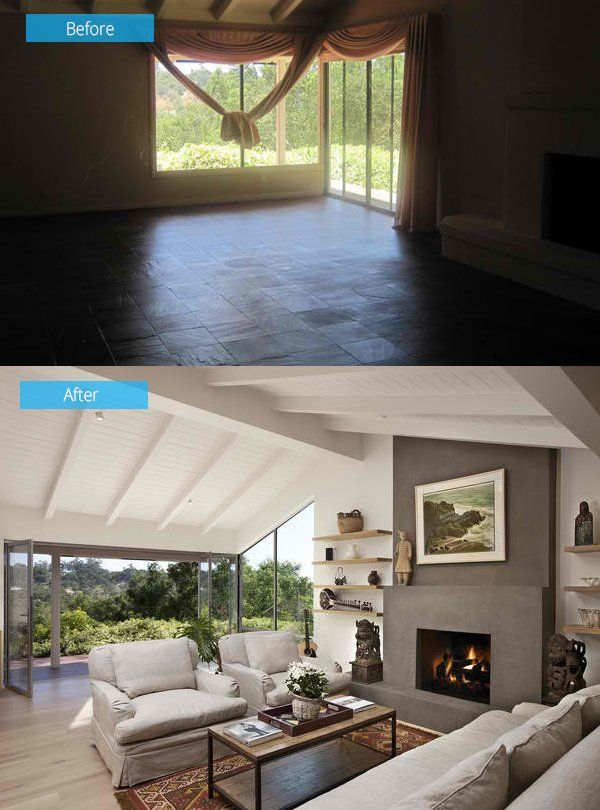 foot rests for living room%0A    Impressive Before and After Photos of Living Room Remodels