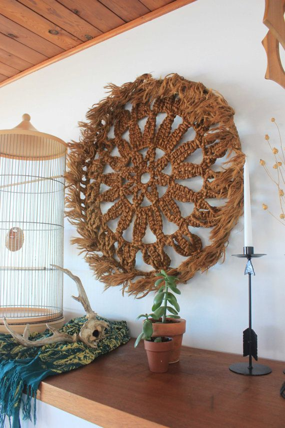 Large Vintage Hand Made Round Jute Macrame Wall Art Wall