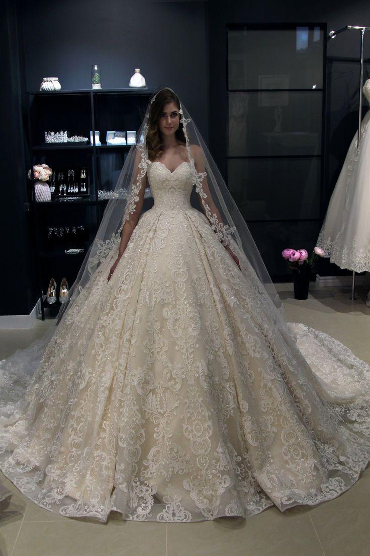 Off the shoulder Princess wedding dress Elmi by Olivia Bottega. Lace up back wedding dress. Whole lace wedding dress. Ball wedding dress