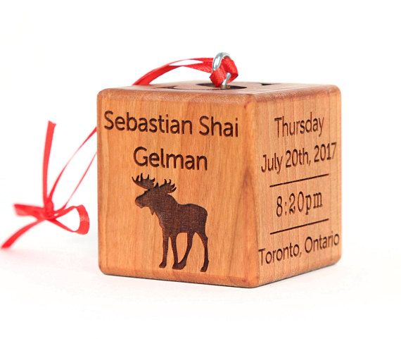 25 best personalized christmas ornaments images on pinterest red personalized baby block with baby stats negle Choice Image