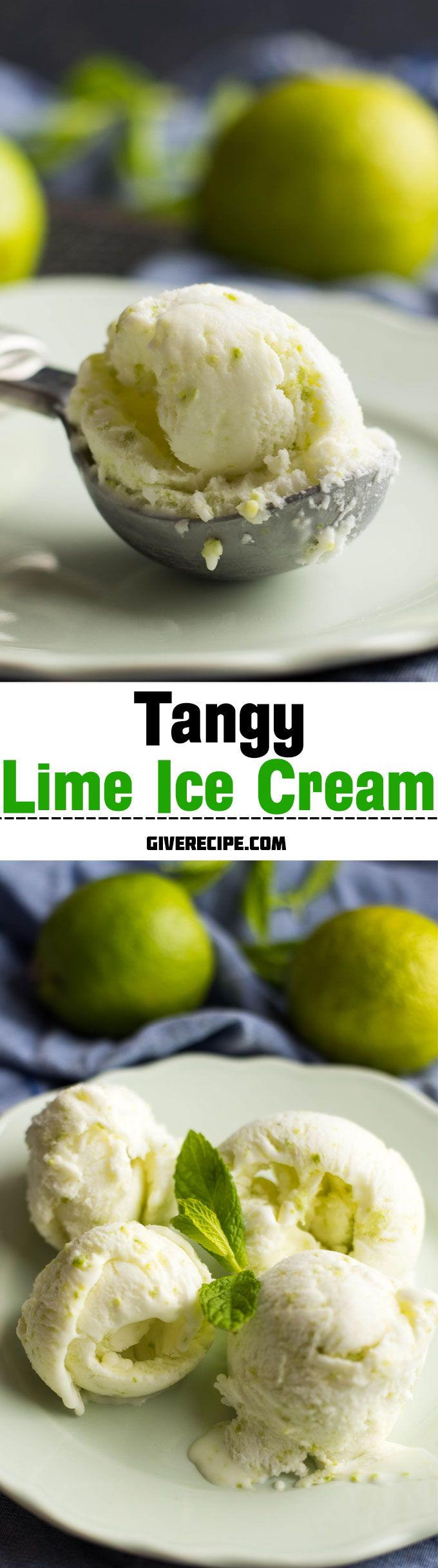 A PERFECT refreshing ice cream with lime juice and zest. EASY to make! | giverecipe.com | #lime #icecream