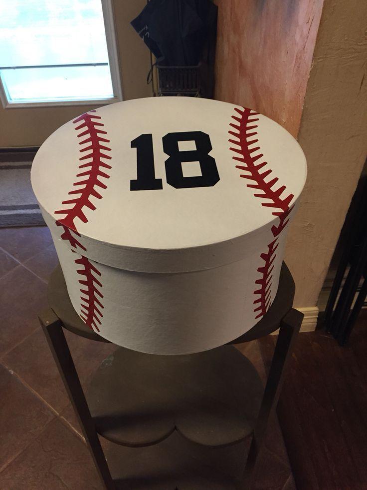 Card Box for senior baseball player. Baseball
