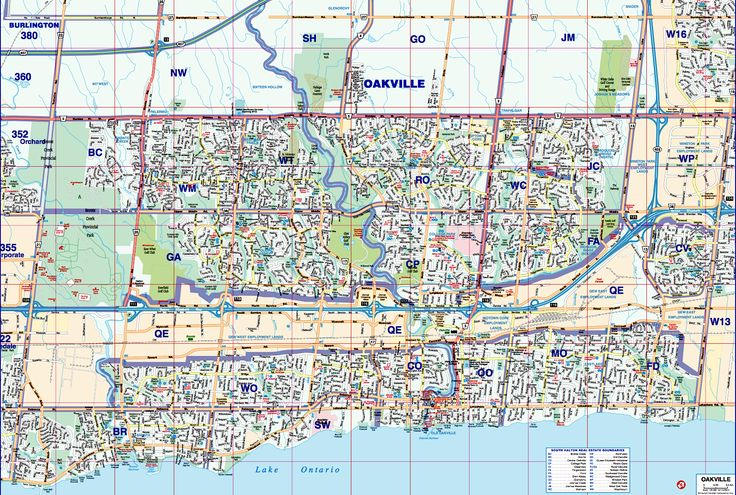 Map Of Oakville Ontario Neighbourhoods