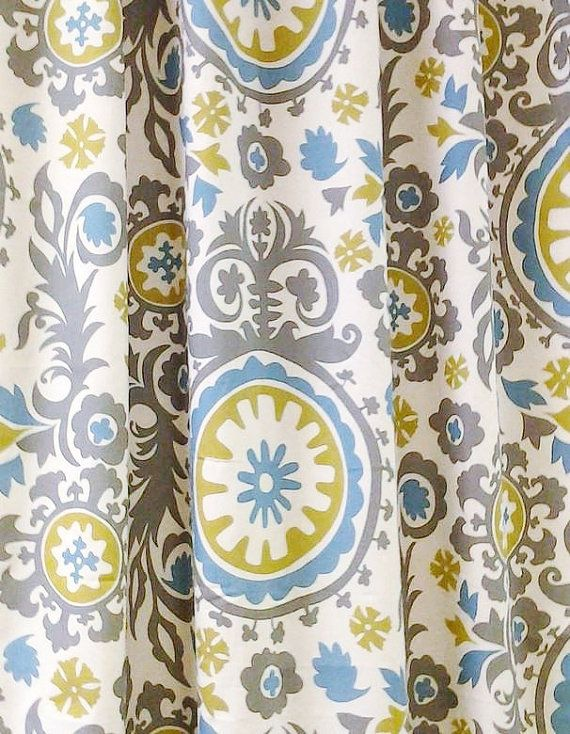 Our gray blue yellow floral curtain panels are the perfect touch of damask to add to your home decor. This listing includes a pair (set of 2) unlined curtain drapery panels or single valance made with a medium-heavy weight upholstery grade fabric. Our panels can be hung using a standard curtain rod or ring clips.  Need a different size? Custom measurements are welcome-just contact me with your needs.  Free fabric samples are available upon request. Colors include: Gray, French Blue, Citrine…