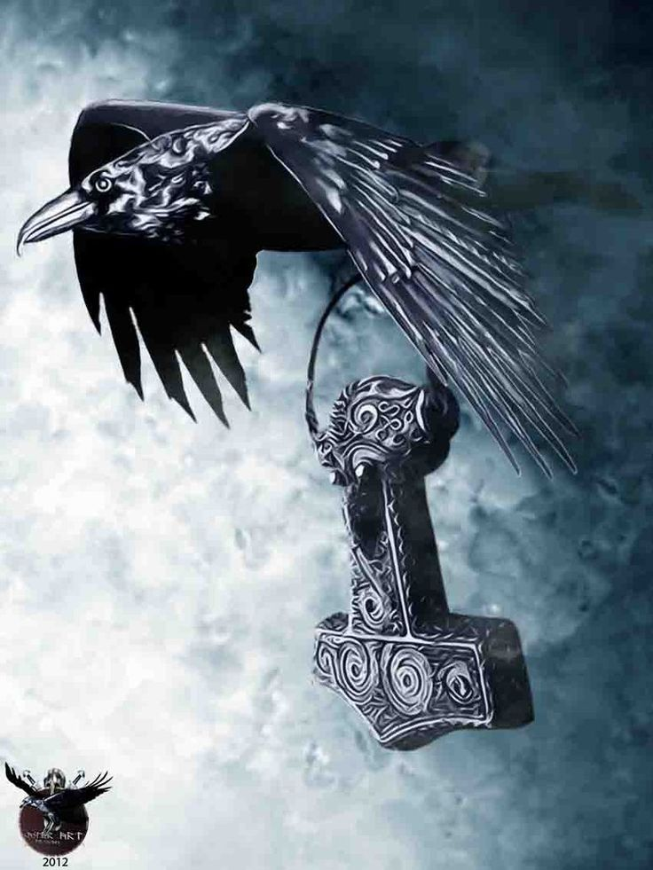 Raven with Thors hammer by ~thecasperart on deviantART