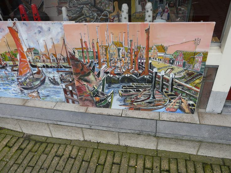 Paintings in a shop, Volendam, Netherlands. October 2008