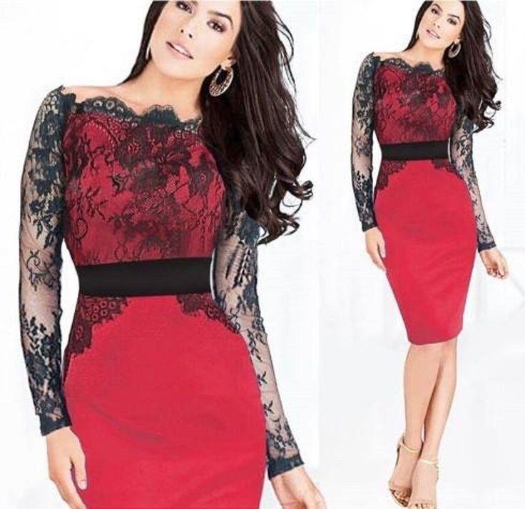 Rote Kleid schwarze Spitze langen Ärmeln Lycra jersey Kleid  Gr. M-L -:  40-42-