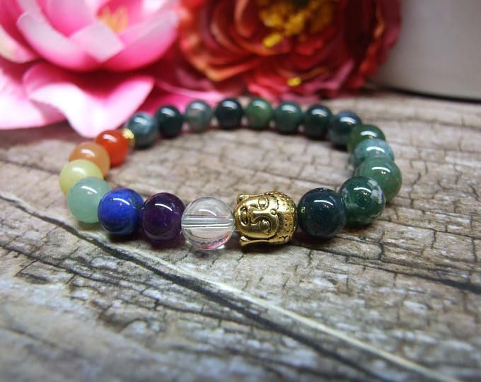 Chakra bracelet / Natural gemstone bracelet, Fine jewelry, Crystal gemstone, Healing reiki yoga jewelry