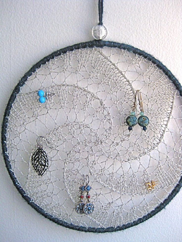 DIY earring holder Change to frame and add buttons for stud earring