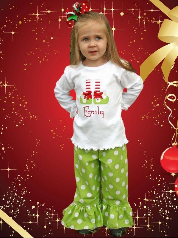 Boutique Girls Elf Shoes Christmas Ruffled Pants Set