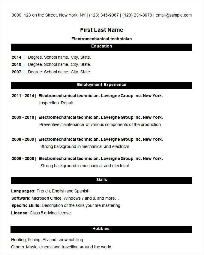 Simpla Basic Resume Template Basic Resume Basic Resume Format Simple Resume Format