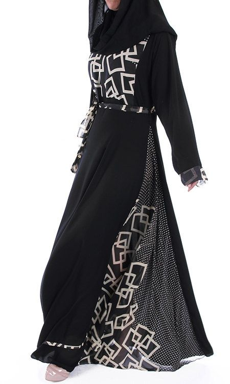 Abaya Nadey Bi-color Black maxi dress abaya by ShopIslam on Etsy