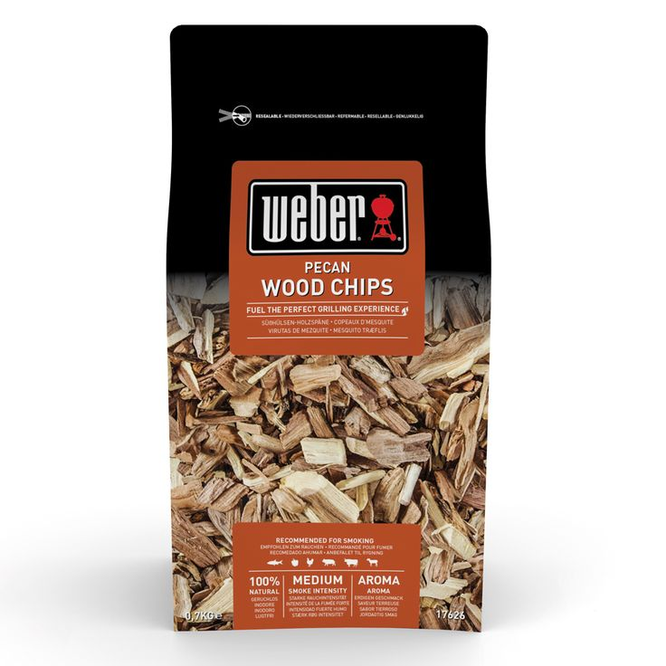 Weber Pecan Wood Smoker Chips 1.5lb Pecan delivers a strong smokey flavour. Excellent for smoking pork and venison. Supplied in re-sealable 0.7kg (1.5lb) bag.