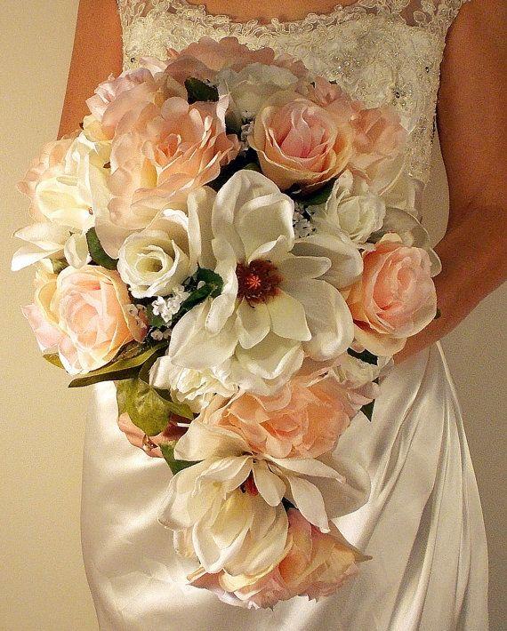 Rose Quartz Bridal Bouquet, Pink White Rose Magnolia Wedding Bouquet, Cascading Bouquet, Large Blush Pink Roses Bouquet, Ready to Ship