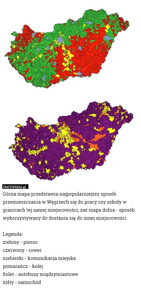 Górna mapa przedstawia najpopularniejszy sposób przemieszczania w Węgrzech – Górna mapa przedstawia najpopularniejszy sposób przemieszczania w Węgrzech się do pracy czy szkoły w granicach tej samej miejscowości, zaś mapa dolna - sposób wykorzystywany do dostania się do innej miejscowości.   Legenda:  zielony - pieszo czerwony - rower niebieski - komunikacja miejska pomarańcz - kolej  fiolet - autobusy międzymiastowe  żółty - samochód