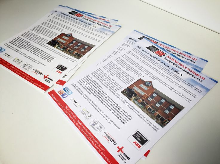 Case study flyers printed on 2 types of stock, 1 on 170gsm Gloss & the other onto 300gsm Uncoated.