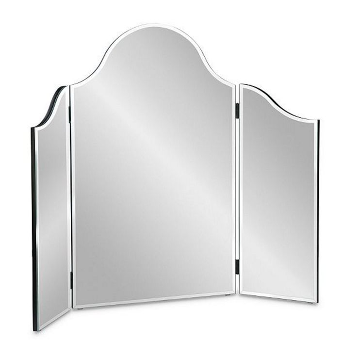 """Frameless Tri-Fold Mirror. The Frameless Tri-Fold Mirror is a lovely addition to a dressing table or vanity top. Turn any table into a stylish and contemporary dressing table with this lovely beveled-edge mirror. 3-panel mirror can be positioned in many ways. Plastic feet on the bottom of the mirror prevent scratching. Center: 18""""W x 28""""H Sides, Each: 9""""W x 22""""H Total Width: 36""""W."""