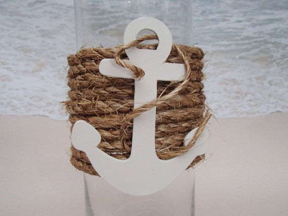 Set of 3 Nautical Vase Centerpieces Anchor by ParadiseBridal