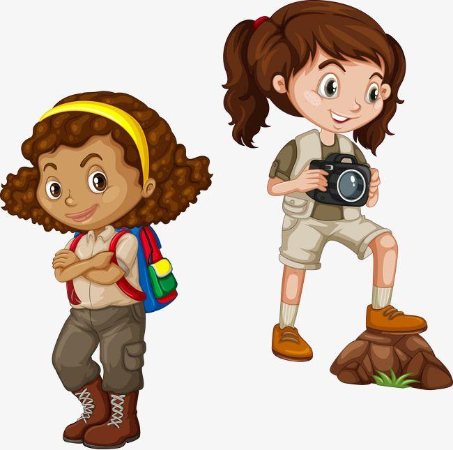 ناقلات الكرتون لطيف فتاة صغيرة مغامرة السفر السياحة فتاة الكرتون السفر الكرتون Png وملف Psd للتحميل مجانا Explorer Theme Drawing For Kids Girl Cartoon