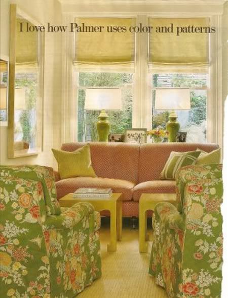 Green Floral Fabric: Interior Colors, Dining Room, Colorful Combo, Green Living Rooms, Chair Fabric, Coral Living Rooms, Color Collage, Citrus Colors, Fun Colors