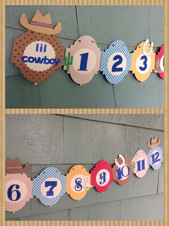 12 month picture banner cowboys and indians by ThePinkPapermill