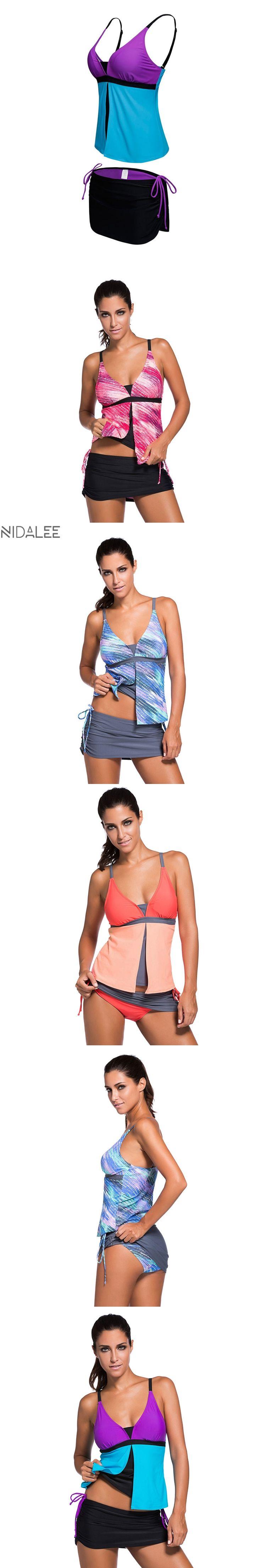 NIDALEE Plus Size Swimwear Women Two Piece Print Patchwork Tankini Push Up Swimsuit Skirt biquini Maillot De Bain Femme 2017 3XL