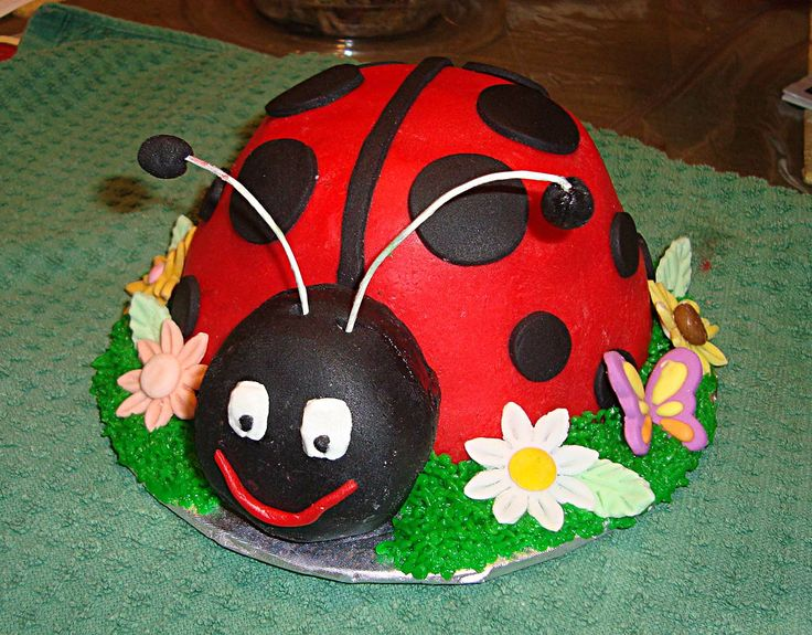 Ladybug Birthday - I made this cake for my friend who loves ladybugs. Also made ladybug cupcakes and put them on a cupcake stand. The large cake was yellow cake covered in fondant with fondant dots. the Head was two Tastykake tandy cakes put together and covered in fondant. The cupcakes were gluten free vanilla coconut with buttercream frosting, fondant face and mini chocolate chip dots.