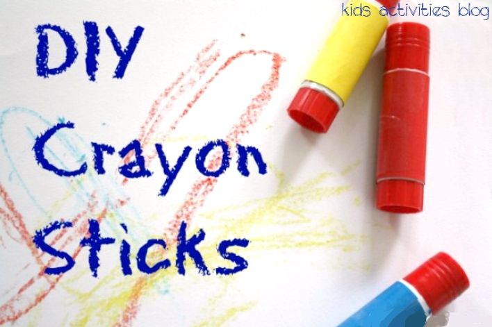 """This is GENIUS --- make """"new"""" crayons with old crayons and emptied glue stick containers."""