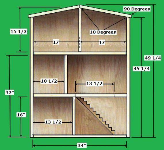 plano de casa de muñecas, plano casita de muñecas, medidas casas de muñecas