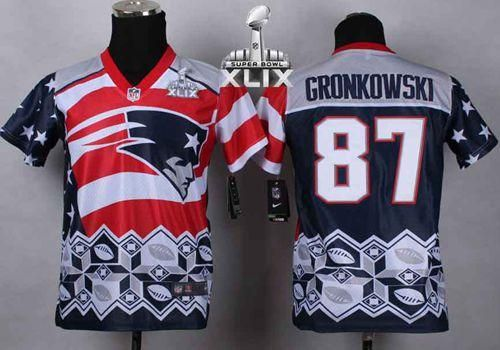 Nike Patriots #87 Rob Gronkowski Navy Blue Super Bowl XLIX Youth Stitched NFL Elite Noble Fashion Jersey stitched quality and free shipping service