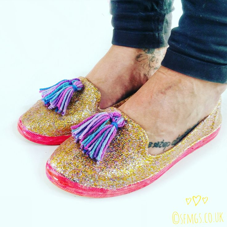 DIY Glitter Loafer Shoes | Refashion - Make these cute glitter pumps by refashioning a pair of old plimsolls with glitter, Lily Sugar 'n' Cream and Modge Podge with this full step-by-step tutorial