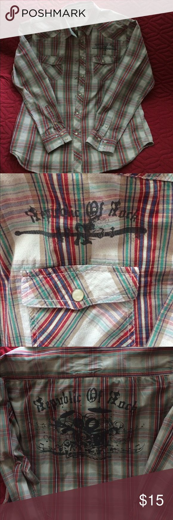 Men's Republic of Rock Red Camel Shirt This shirt has western cut styling with snaps instead of buttons. The basic color is a light khaki, but the plaid stripes are multi-colored.    Perfect condition! Red Camel Shirts Casual Button Down Shirts